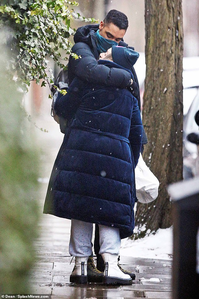 The Mail on Sunday can reveal that Regé-Jean Page, who plays the handsome Duke of Hastings in the hit Netflix drama, has a real-life girlfriend. Pictured: Page was spotted embracing writer and part-time footballer Emily Brown