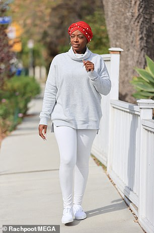 Tessica Brown, 40, appeared carefree as she strolled in Los Angeles on Thursday, a day after a plastic surgeon ended her month-long Gorilla Glue ordeal