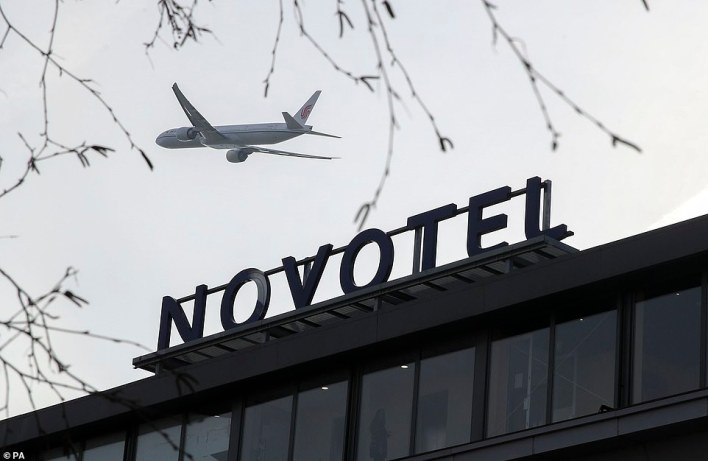 The majority of those required to quarantine will arrive at Heathrow, but bosses yesterday said there were  'significant gaps' about how the scheme would operate remain. Pictured: Novotel Hotel near Heathrow Airport which is being prepared for use as a Government-designated quarantine hotel