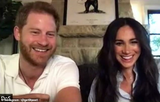 Meghan was able to keep her changing figure private until yesterday's announcement by ensuring she was only seen from the chest up in her most recent video appearance, which took place on Saturday 6 February (pictured). Her baby bump was hidden from view