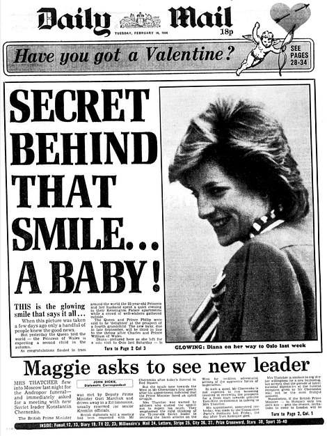 The Daily Mail front page on Diana from February 14, 1984
