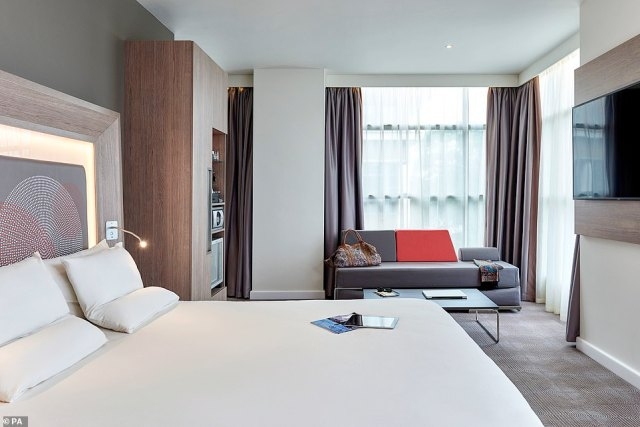 """A room in the Novotel London Heathrow Airport T1, T2 and T3 Hotel where passengers entering England from one of 33 """"red list"""" countries will stay during a 10 day quarantine period"""