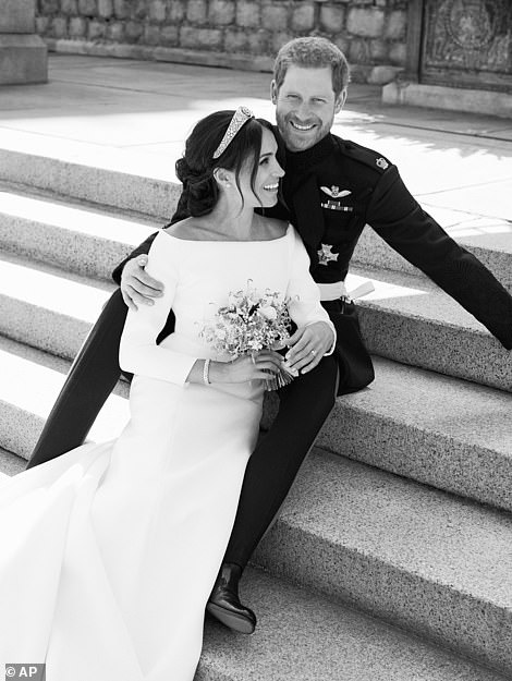 Wedding Day: This photo released by Kensington Palace following their nuptials in May 2018, showed the couple on the East Terrace of Windsor Castle