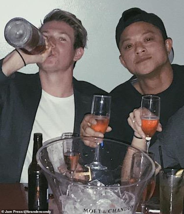Branden is pictured left partying around age 22 with a friend