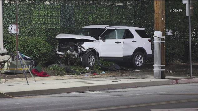 A girl has fatally run over two homeless men after driving her mother's car without permission in California (Crash scene pictured)
