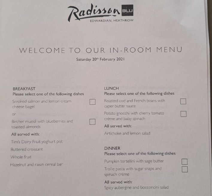 The Radisson Blu Edwardian menu for Saturday is also pictured, including roasted cod and French beans for lunch