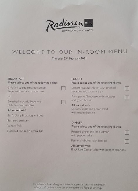 Radisson Blu menu for Thursday