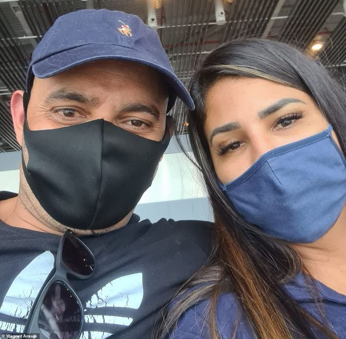 Wagner Araujo, 43, a removal man, arrived at Heathrow Airport today with his wife Elaine, 40, following a trip to Brazil