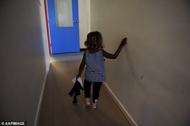 The One Nation leader said in a provocative speech to the Senate on Monday that both sides of politics are 'too afraid' to be labelled 'creators of a second Stolen Generation'. Pictured: A child is seen at the Alice Springs Women's Shelter in 2016