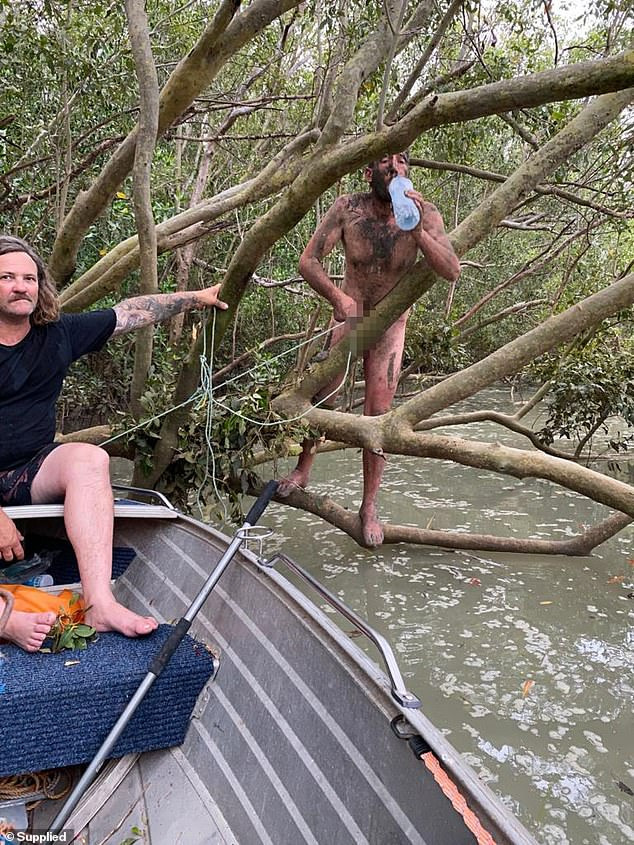Crab potter Kev Joiner points to Voskresensky. The court heard Voskresensky was was on bail for assaulting his girlfriend when he removed his electronic monitoring device and fled to the mangroves on New Year's Eve last year