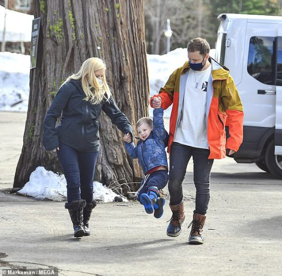 Family Time: The reality star (34) appeared in a great mood as she was joined by husband Spencer Pratt (37) and their three-year-old son Gunner, whom they happily switched between