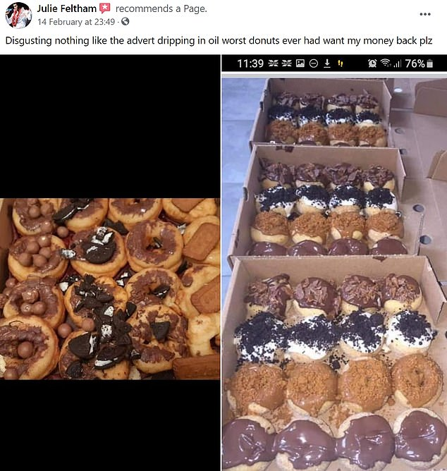 Another customer, who left a review on the company's social media, said: 'Disgusting, nothing like the advert. Dripping in oil, worst donuts [I've] ever had. Want my money back'