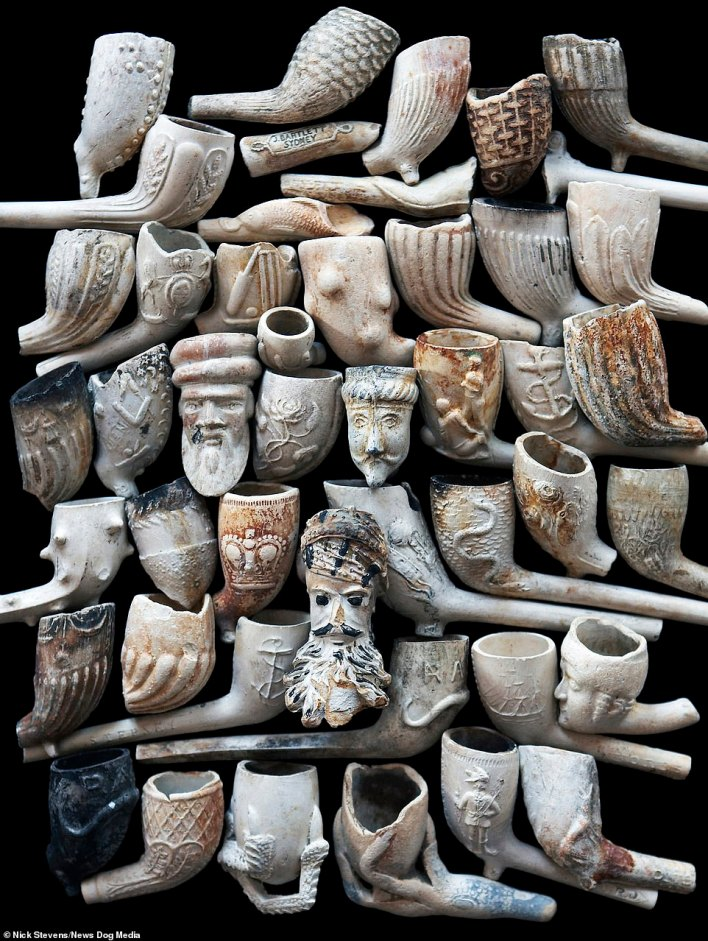 A selection of the many clay pipe bowls founds in the River Thames, London by Mr Stevens. Clay pipes are a very common find because of how widespread their use was in England and elsewhere