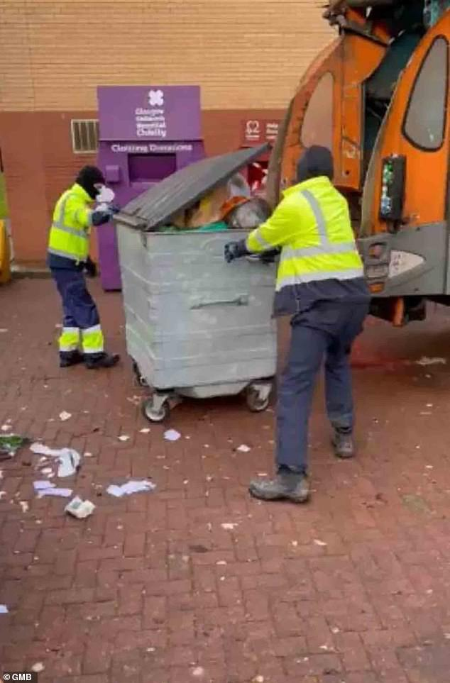 Two Glasgow City Council binmen were filmed emptying a large waste unit into the back of their truck in the city