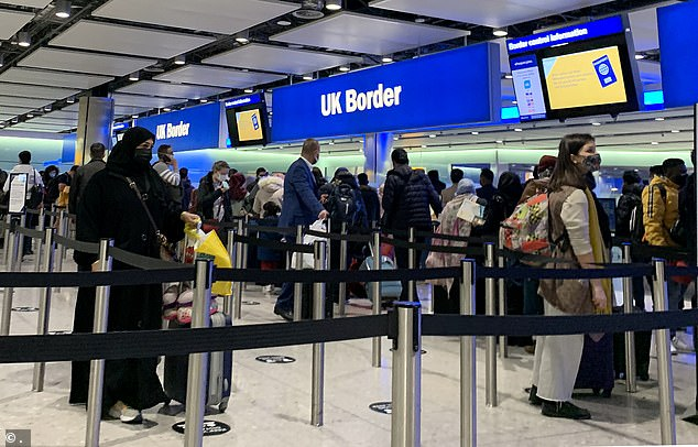 Passengers line up for passport control in the UK Border area of Terminal 2 of Heathrow Airport, London last week - with half of all Border Force staff were off sick last Friday