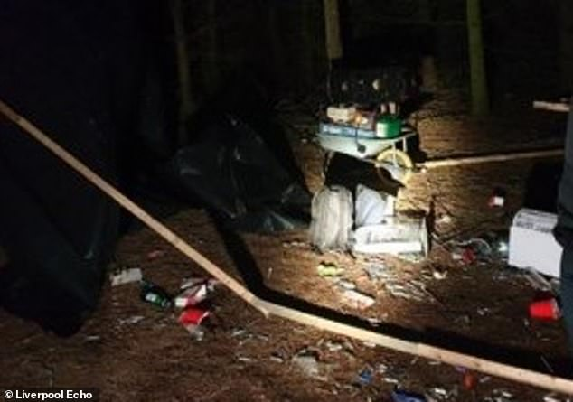 Drugs, music speakers and a weapon were all seized after police busted an illegal rave in a Merseyside wood on Valentine's Day morning