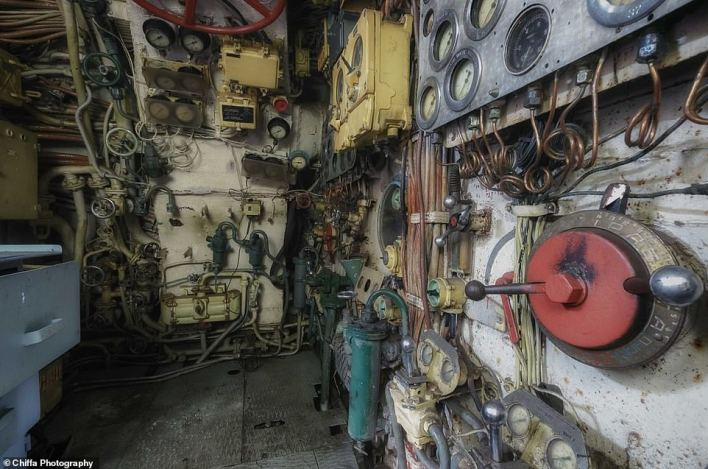 Naval expert H. I Sutton, author of the book Covert Shores, told MailOnline Travel: 'In Soviet service, she would have been a patrol submarine intended primarily to fight against ships.' According to the photographers, this image shows the place where the chief mechanic would have worked