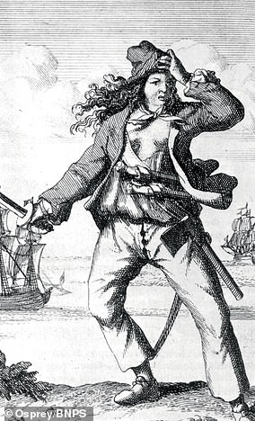 The pirate Mary Read, wearing the outfit of a European sailor from the period