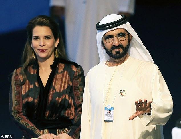 Dubai's ruler Sheikh Mohammed bin Rashid Al Maktoum, right, with his estranged wife Princess Haya bint Al Hussein in 2017