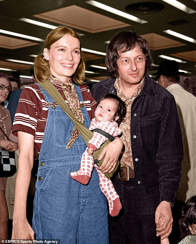 Soon-Yi Previn (pictured as a baby) whom Farrow adopted with ex-husband Andre Previn (pictured) in 1977, was 21 and Allen was 55, at the time the affair came to light