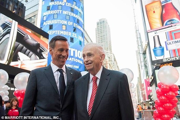 Sorenson is seen withJ.W. Marriott Jr celebrating the company's $13 billion acquisition of Starwood Hotels & Resorts Worldwide in 2016