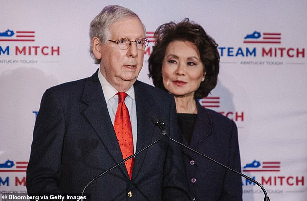 It's personal: Trump's attack on McConnell included a racially-loaded claim that McConnell was compromised by 'his family's Chinese business holdings' - a reference to Elaine Chao, who as well as being the daughter of a Chinese-American businessman whose shipping company has made his family right, was Trump's transportation secretary until she quit in disgust after the MAGA riot