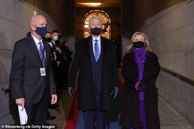 Former President Bill Clinton and Hillary Clinton at Biden's inauguration