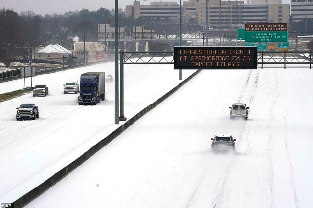North Jackson, Mississippi: A snowyInterstate 55 pictures Monday.There have been record subzero temperatures in Texas and Oklahoma
