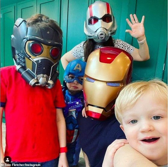 Superheroes: Tom and wife Giovanna, 36, share sons Buzz, six, Buddy, five and Max, two, and the family joins the Marvel theme of superheroes