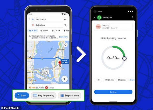 Drivers in hundreds of cities worldwide can now pay parking meters directly on the Google Maps app by tapping the 'pay for parking' button from driving navigation