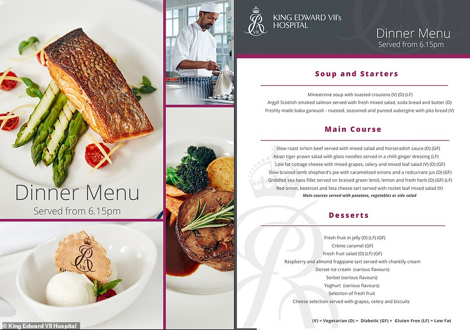 The exclusive hospital also prides itself on its food menu, saying its head chef Mark Heard 'runs an immaculate kitchen'