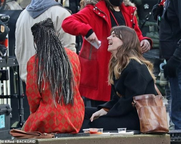 On Set: In one scene, the 22-year-old Normal People actress was seen sitting next to a food truck, chatting with her co-star Jonica Gibbs and laughing.