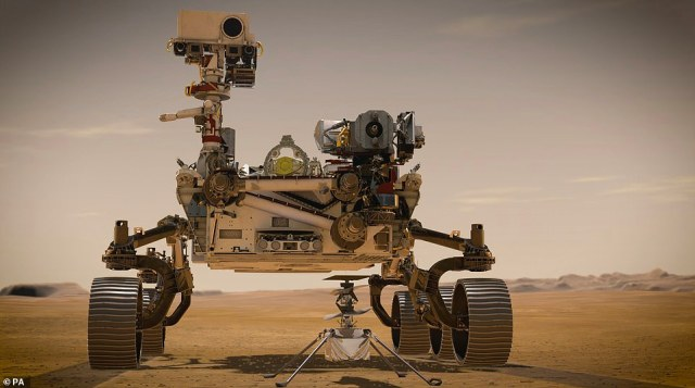 Perseverance is a six-wheeled vehicle which is the same size as a large car and it will be accompanied by an autonomous four pound (1.8kg) helicopter called Ingenuity which will study Martian atmosphere