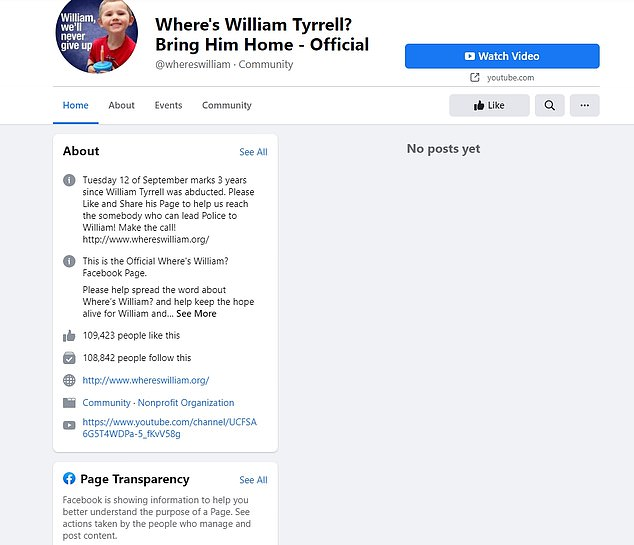 A page helping to hunt for missing toddler William Tyrrell - which is used to share tips with the police - was also taken down amid the ban