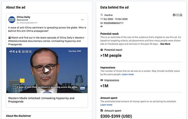 Facebook charged China Daily less than $400 to beam this post to a million users. It accuses Western media and politicians of 'lies' and 'disinformation' about the Uighur Muslims