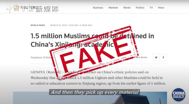 A post by China Daily which claimed a Reuters report about the Muslims in Xinjiang was 'fake'