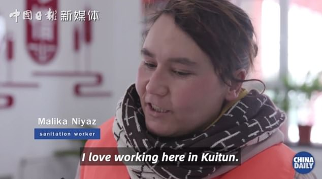 A 'sanitation worker' describes how she 'loves' working in Kuitun, a city in northern Xijiang
