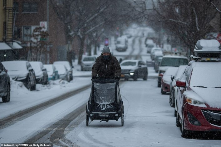 BROOKLYN, NEW YORK: Snow started falling early Thursday morning in New York City (Williamsburg, Brooklyn, pictured)
