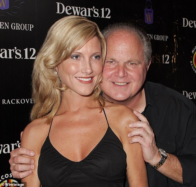 Limbaugh married Kathryn Rogers in a lavish ceremony in 2010. Pictured in 2008