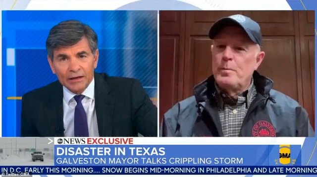 In Galveston, Mayor Craig Brown said burst pipes had depleted the areas water supply as he described the devastation the storm is wreaking as 'worse than a hurricane'