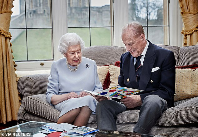 November 2020: The last photograph of Philip, where the Duke and Queenlooked at the homemade card given to them by their great-grandchildren Prince George, Princess Charlotte and Prince Louis ahead of their 73rd wedding anniversary