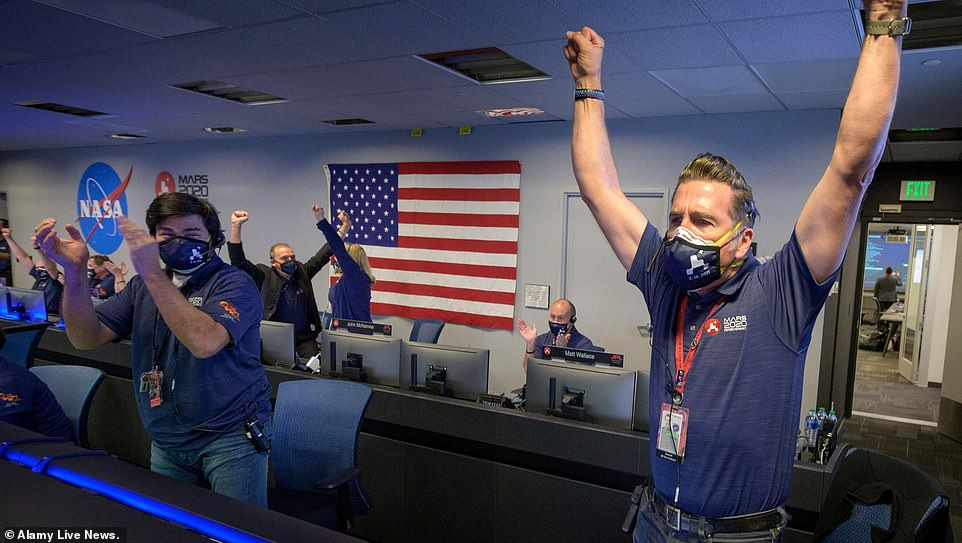The NASA team was overjoyed after hearing the news that Perseverance had landed safely on Mars
