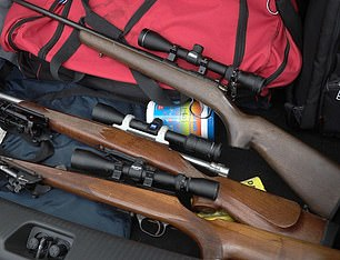 Pictured: Guns seized at a property