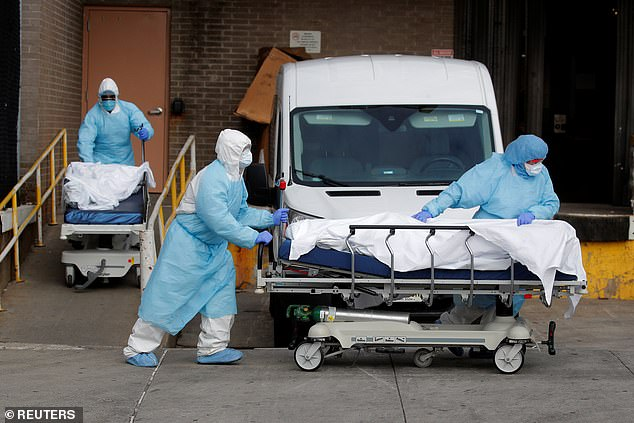 Bodies are removed from a Brooklyn hospital last April.  More than 15,000 people have died in New York state's nursing homes and long term care facilities from the virus, but as recently as last month, the state reported only 8,500 deaths