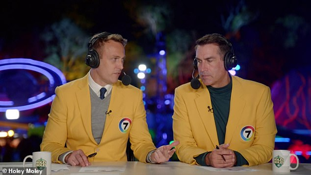 All stars: American comedian Rob Riggle shares commentary duties with Seven sports anchor Matt Shirvington, while golfing legend Greg Norman serves as the resident golf pro