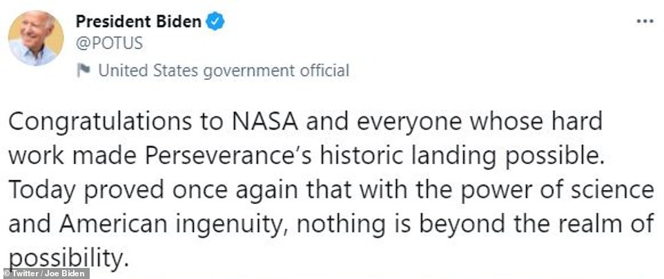 The landing was live streamed by NASA to millions of eager viewers. Among them was President Joe Biden who watched the landing from the White House and sent out a tweet of congratulations after the landing, calling it historic