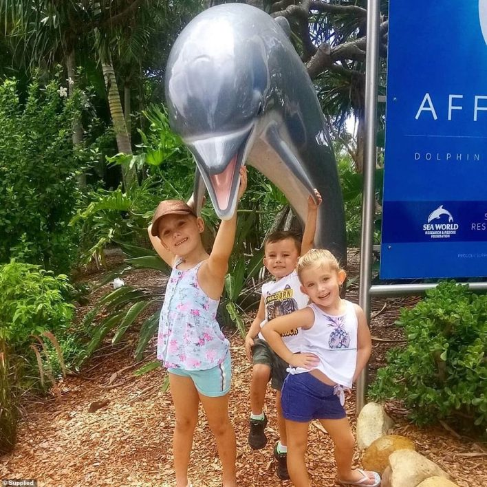 Hannah Clarke's three children (pictured above) - Aaliyah, Laianah and Trey at Sea World on the Gold Coast