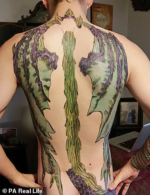 Burns' back tattoo, which took 51 hours