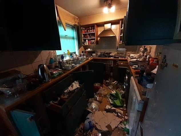 Rubbish lines the floors of the dimly-lit kitchen. If the property sells for its £2,000 guide price,it will be the equivalent of a £2 a week mortgage