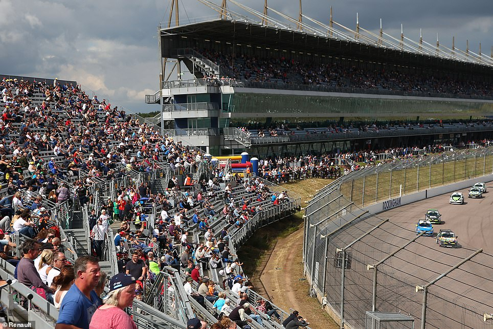 Rockingham's five massive grandstands used by spectators have since been ripped down to turn the race track into a storage hub used by the UK motor industry
